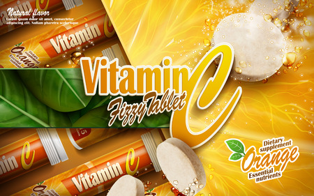 dietary: vitamin tablet with orange and leaf elements, 3d illustration