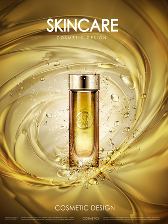 facial care: cosmetic golden essence contained in glass bottle, golden background, 3d illustration