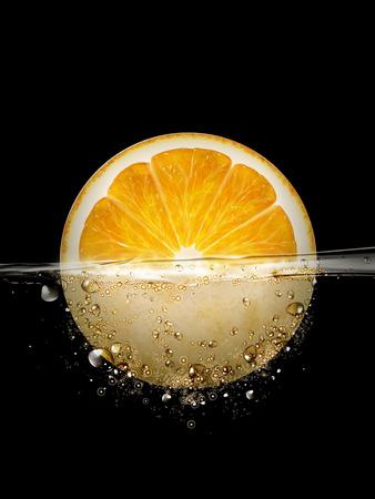 sliced orange floating in water, 3d illustration