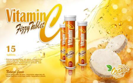 vitamin tablet with golden juice elements, 3d illustration