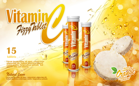 vitamin tablet with golden juice elements, 3d illustration
