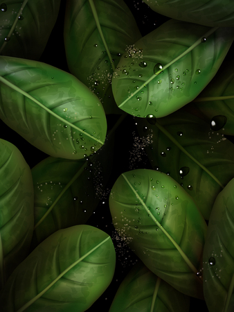green leaves elements that can be use as background, 3d illustration