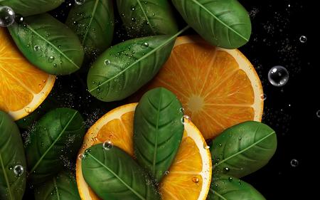 sliced orange with pulp and leaf elements, 3d illustration