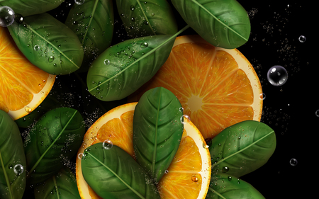 sliced orange with pulp and leaf elements, 3d illustration
