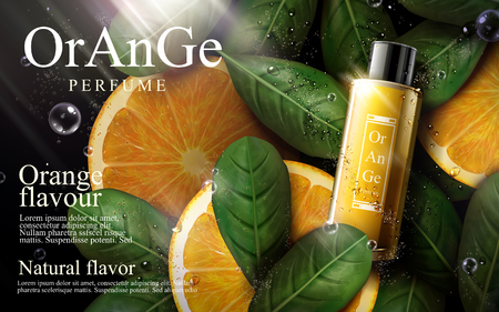 orange flavor perfume with leaves and orange elements, 3d illustration Illustration