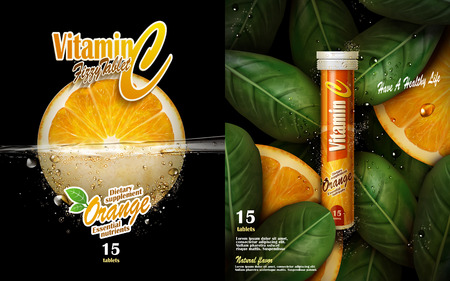 vitamin tablet with orange and leaf elements, black background 3d illustration