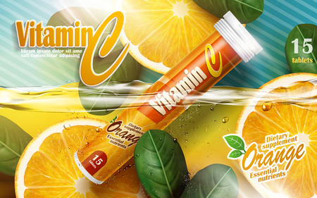 effervescent: vitamin tablet with orange and leaf elements, 3d illustration