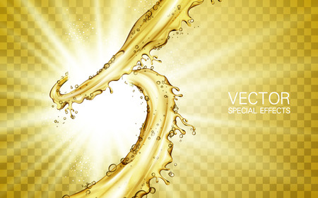 golden juice flow rising up element, with white light shining, transparent background
