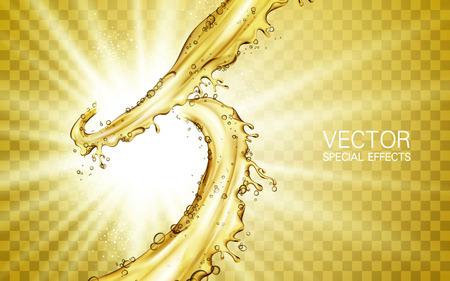 Lément de soulèvement du flux de jus d'or, avec lumière blanche brillant, arrière-plan transparent Banque d'images - 75460564
