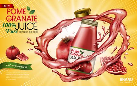 Granatapfelsaft enthalten in der Glasflasche mit Granatäpfeln, gelbe Illustration des Hintergrundes 3d Standard-Bild - 75460565