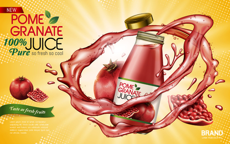 pomegranate juice contained in glass bottle with pomegranates, yellow background 3d illustration