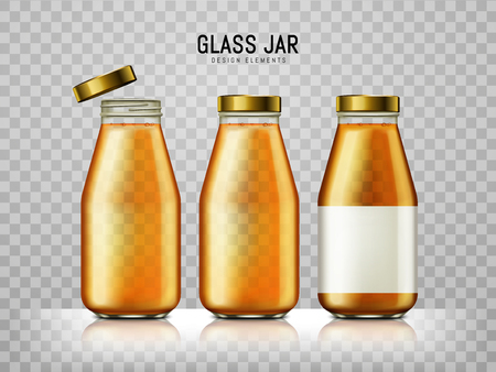 contained: juice contained in three bottles, transparent background, 3d illustration