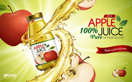 apple juice contained in glass bottle with sliced apple elements, light green background, 3d illustration