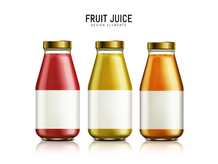 three kinds of juice contained in bottles, white background, 3d illustration Illustration
