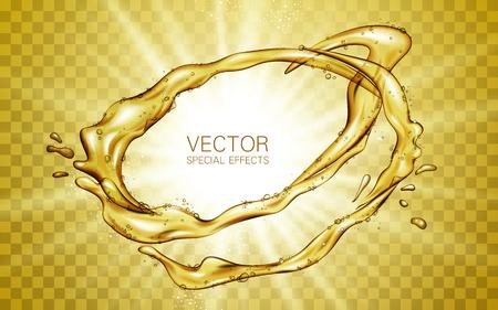 Lément liquide entourant l'écoulement liquide d'or, avec lumière blanche brillant, arrière-plan transparent Banque d'images - 75641298