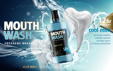 Mundwasser mit Wasser torrents und Zähne Modelle, 3d illustration