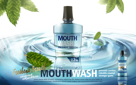 mouthwash mint flavor, with water ripples and mint leaves, 3d illustration