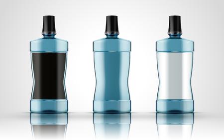enjuague bucal: Líquido químico azul contenido en tres botellas de plástico, aislado fondo blanco 3d ilustración Vectores
