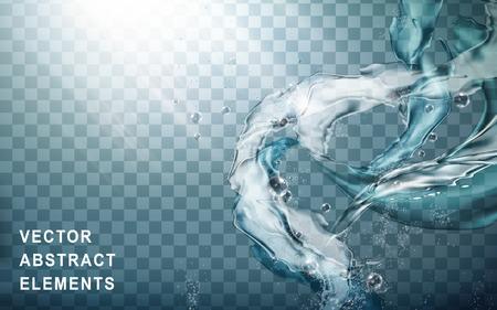 water flow special effect, transparent background, 3d illustration