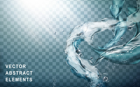 water flow special effect, transparent background, 3d illustration
