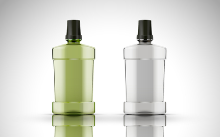 green chemical liquid contained in plastic bottle along with another empty bottle, isolated white background 3d illustration Illustration