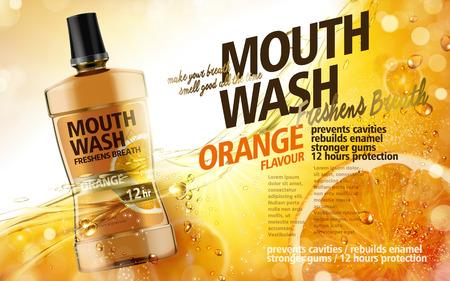 mondwater sinaasappelsmaak, met sap en vruchtvlees elementen, 3d illustratie