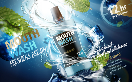 mouthwash mint flavor, with water torrents, ice cubes and mint leaves, 3d illustration