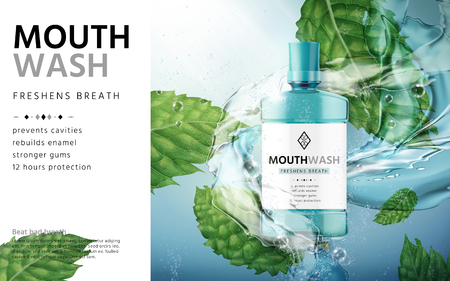 mouthwash mint flavor, with water flows and mint leaves, 3d illustration