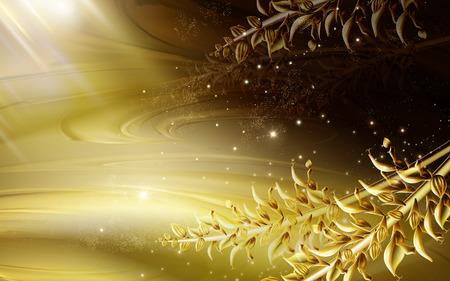 fascinação: Dourado luz fluxo fundo, dourado realístico planta haste, 3D