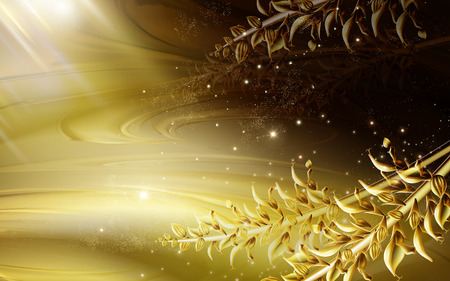 golden light flow background, with golden realistic plant stem, 3d illustration
