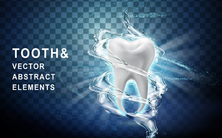 tooth model perfectly washed by surrounding water flow, 3d illustration