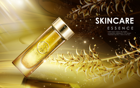 skincare product contained in glass bottle, magical golden light background, 3D illustration