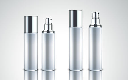 frosted glass cosmetic bottles for design uses, isolated white background, 3d illustration