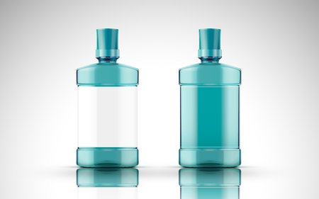 blue chemical liquid contained in two plastic bottles, isolated white background 3d illustration