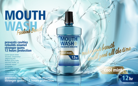 mouthwash mint flavor, with water splash and ripples, 3d illustration