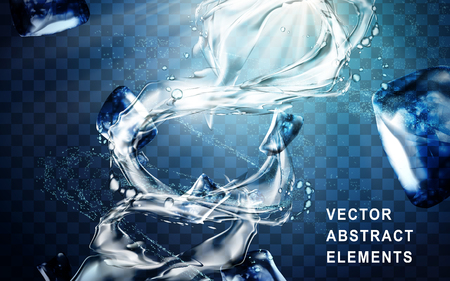 water flow: powerful water flow special effect with ice cubes, transparent background 3d illustration