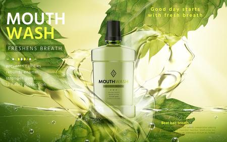 enjuague bucal: sabor de menta enjuague bucal, con flujos de agua verde y hojas de menta, ilustración 3d