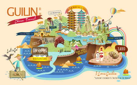 Guilin travel collections of famous attractions and specialties, with Chinese words of Guilin in the upper left corner