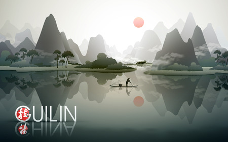 China Guilin travel poster with natural scenery, fisherman with fish trap, and Chinese words of Guilin in the bottom left corner Vectores