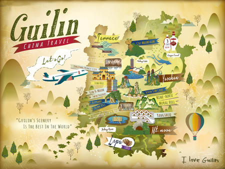 China Guilin travel map with famous attractions and specialties