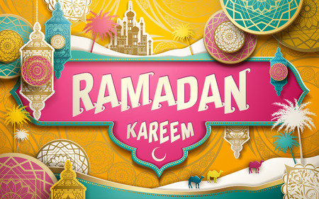 Ramadan Kareem illustration with paper cutting style patterns and lanterns