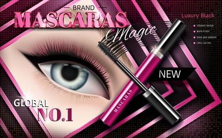 Cosmetic mascara ad, models eye in square shaped frame, 3d illustration Ilustração