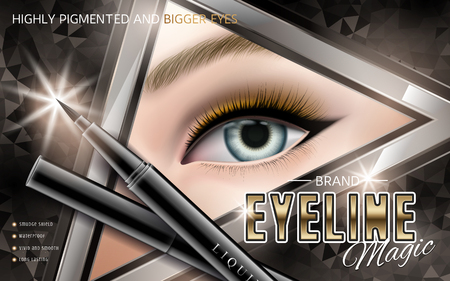 long lasting: Cosmetic eyeliner ad, models eye in a triangular frame, 3d illustration