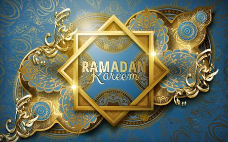 Ramadan Kareem Kalligraphie um zwei Rahmen, mit kompliziertem islamischem Muster, blauer Hintergrund