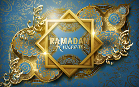 Ramadan Kareem calligraphy around two frames, with complicated Islamic pattern, blue background