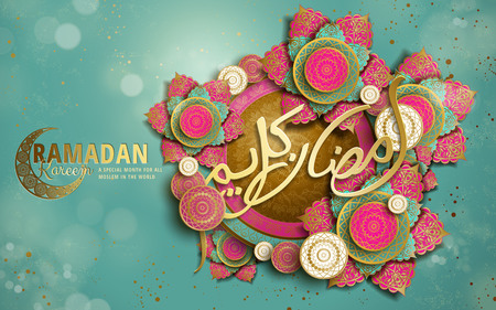 calligraphy design for Ramadan Kareem, with crescent decoration and flower shaped patterns, turquoise bokeh background