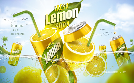 fresh lemon soda ad, with metal can fused with fresh lemon, ocean background 3d illustration