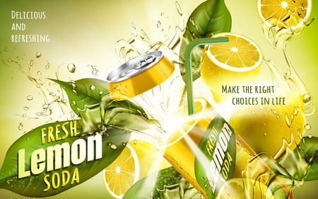 Fresh lemon soda ad, with a metal can fused with fresh lemon, 3d illustration