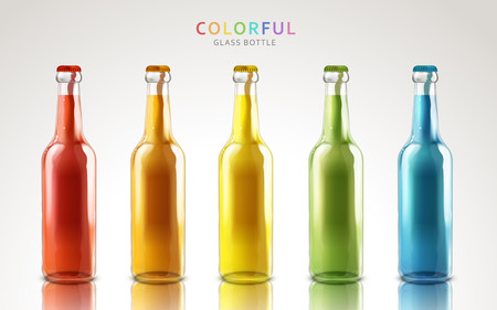 colorful glass bottle models, can be used as design elements,  white background 3d illustration