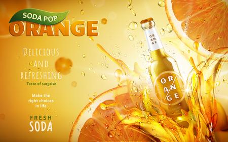 右側にある、3 d イラストレーション シャイニング ・ チルト光沢のあるボトルとオレンジ ソーダ ポップ広告